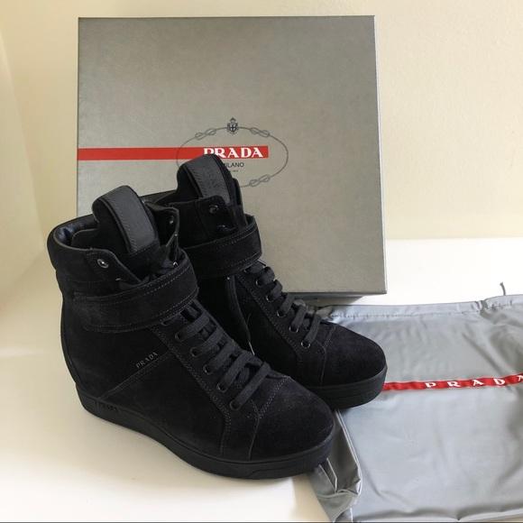 2525275980f New Prada hidden wedge high top sneakers 36.5